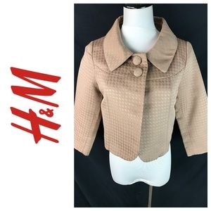 H&M Tan Houndstooth Cropped 3/4 Sleeve Jacket